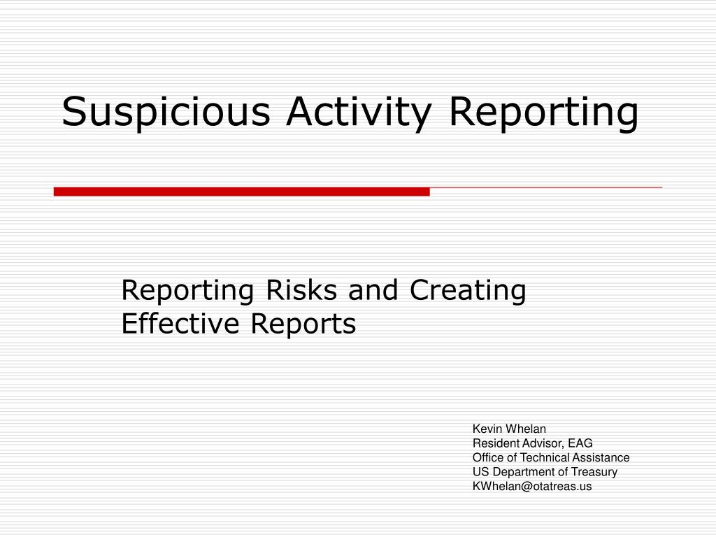 suspicious activity reporting l.