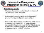 information management information technology wg