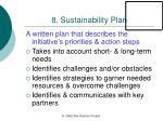 8 sustainability plan