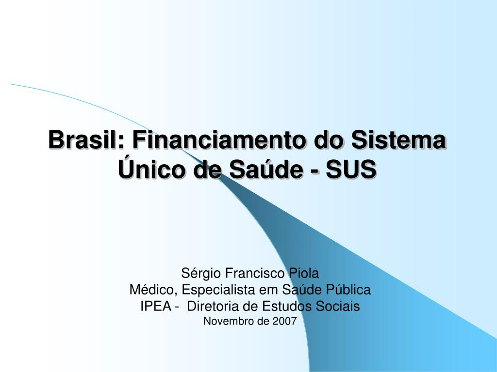 brasil financiamento do sistema nico de sa de sus l.