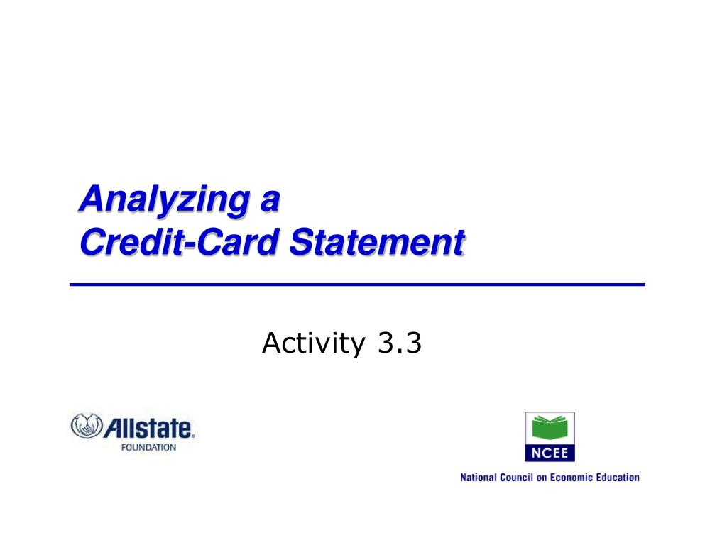 analyzing a credit card statement l.