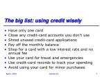 the big list using credit wisely