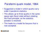 parafermi quark model 1964