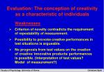 evaluation the conception of creativity as a characteristic of individuals17