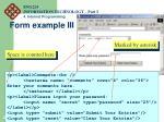 form example iii