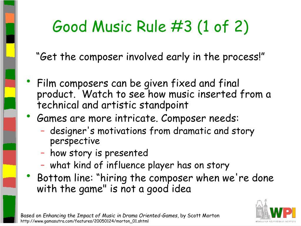 Good Music Rule #3 (1 of 2)