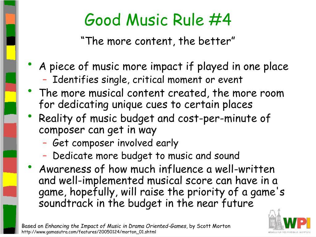 Good Music Rule #4