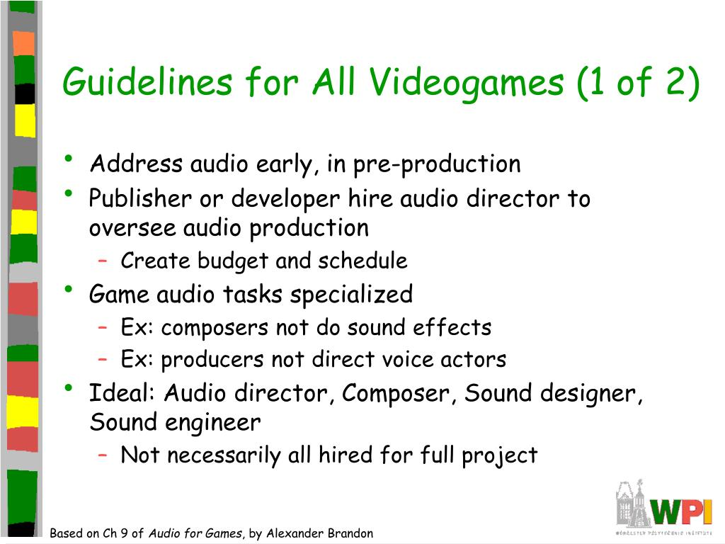 Guidelines for All Videogames (1 of 2)