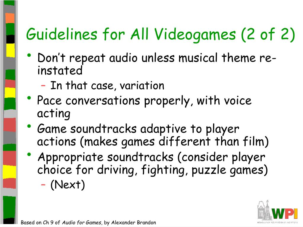 Guidelines for All Videogames (2 of 2)