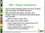 mp3 playout and beyond