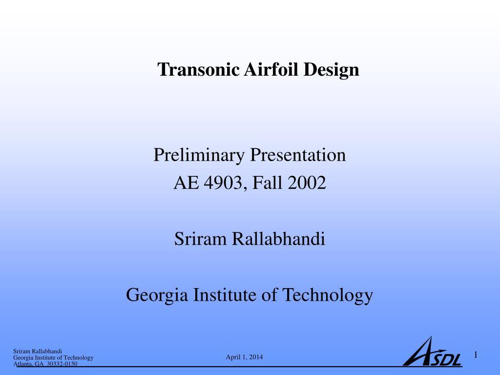transonic airfoil design l.
