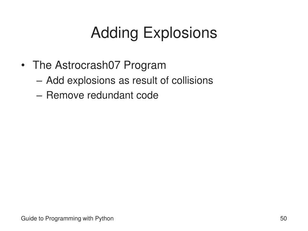 Adding Explosions