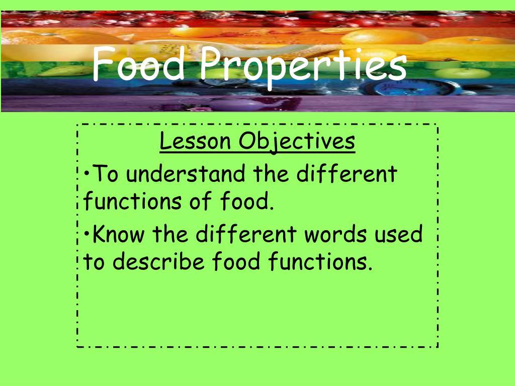 food properties l.