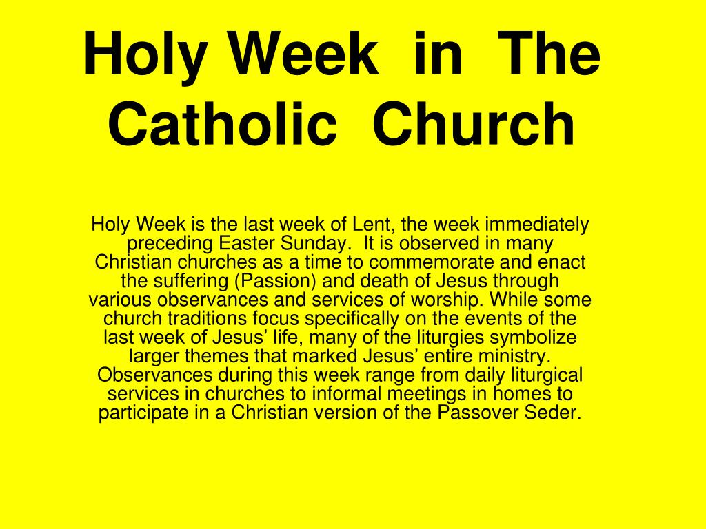 holy week in the catholic church l.