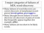 3 major categories of failures of mdl word discovery