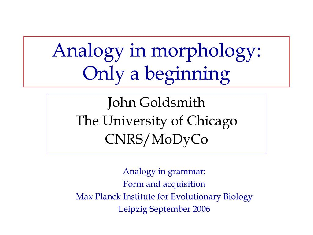 analogy in morphology only a beginning l.