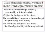 class of models originally studied in the word segmentation problem