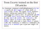 from encarta trained on the first 150 articles