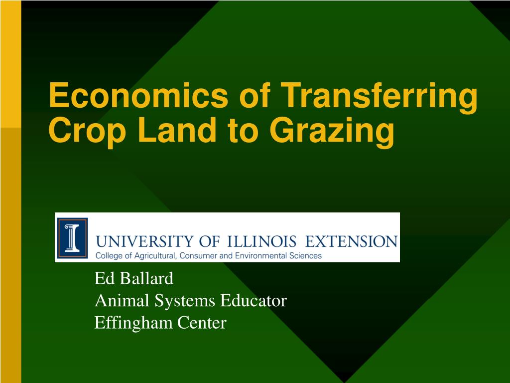 economics of transferring crop land to grazing l.