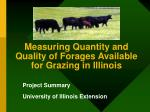 measuring quantity and quality of forages available for grazing in illinois