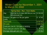 winter costs for november 1 2001 to march 14 200281