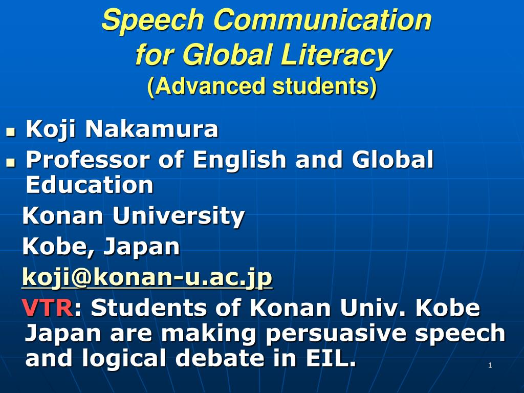 speech communication for global literacy advanced students l.