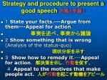 strategy and procedure to present a good speech