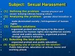 subject sexual harassment