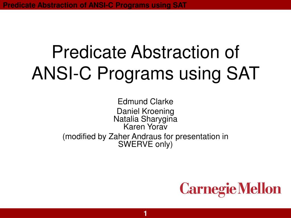 predicate abstraction of ansi c programs using sat l.