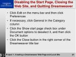 disabling the start page closing the web site and quitting dreamweaver