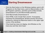 starting dreamweaver