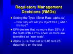 regulatory management decisions rmds