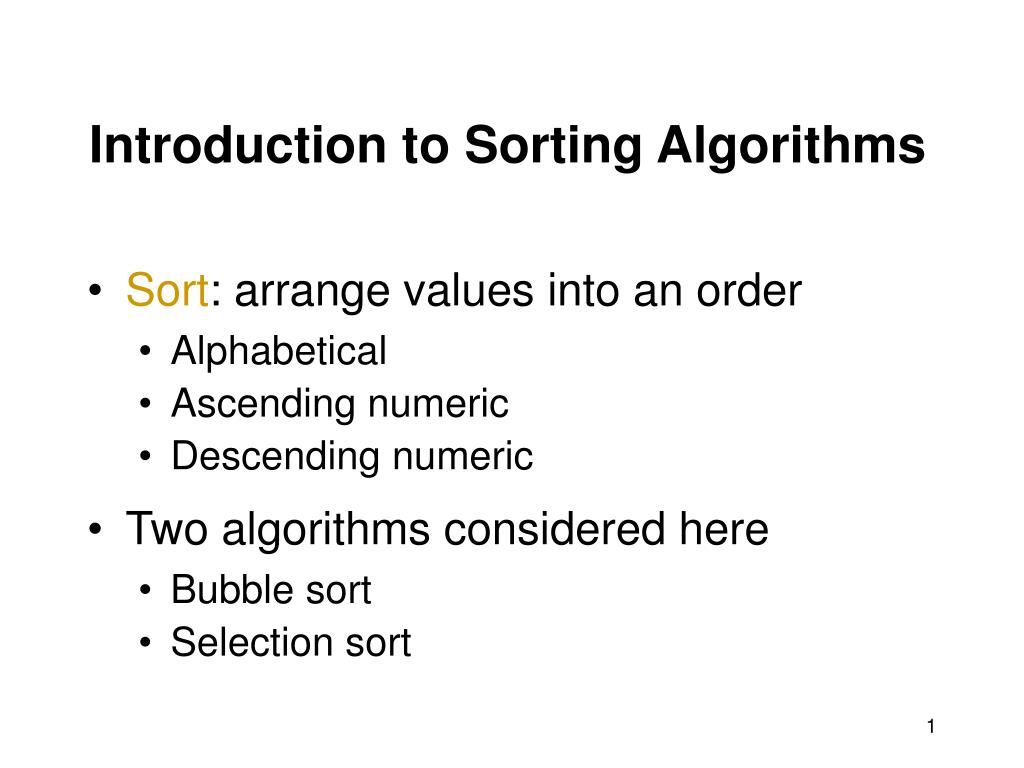 introduction to sorting algorithms l.