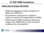 fy 2007 nims compliance