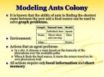 modeling ants colony