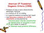american cf foundation diagnosis criteria 1998