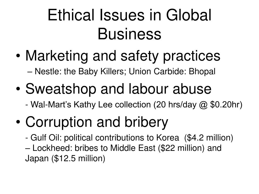 ethical issues in global business l.
