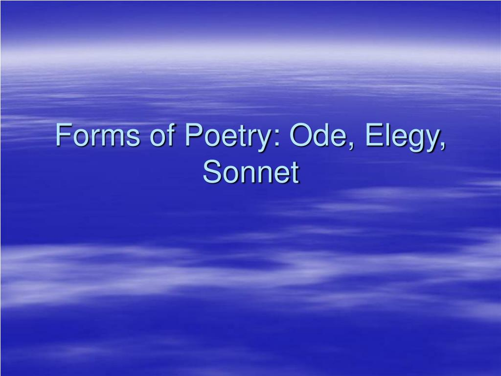 forms of poetry ode elegy sonnet l.