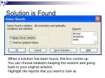 solution is found