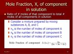 mole fraction x of component in solution