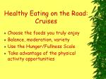 healthy eating on the road cruises