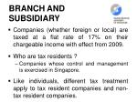 branch and subsidiary