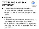 tax filing and tax payment