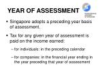 year of assessment
