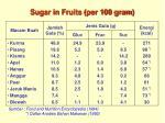 sugar in fruits per 100 gram