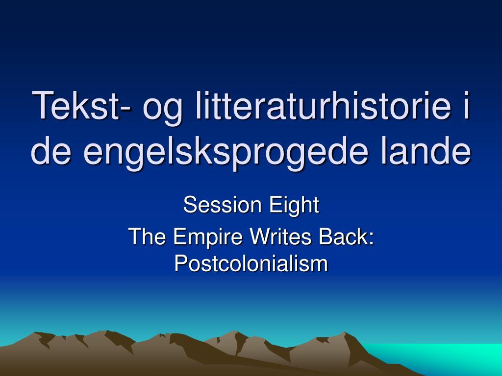 tekst og litteraturhistorie i de engelsksprogede lande l.