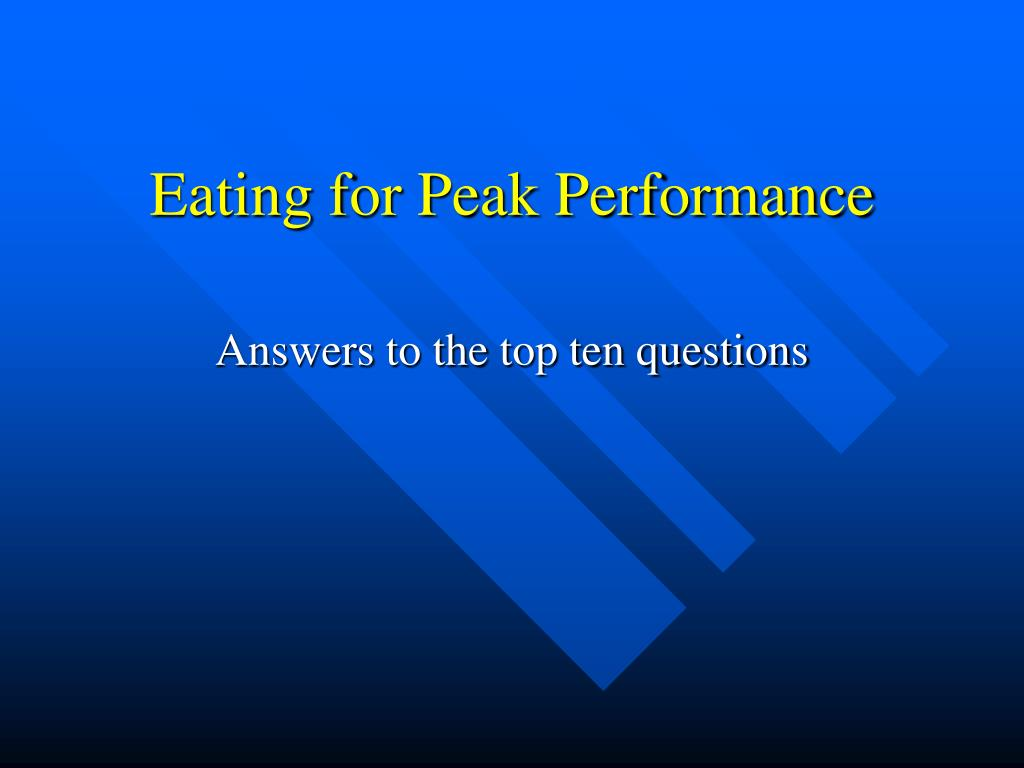 eating for peak performance l.