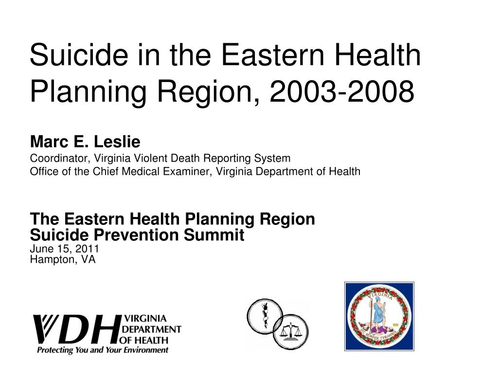 suicide in the eastern health planning region 2003 2008 l.