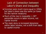 lack of connection between labor s share and inequality
