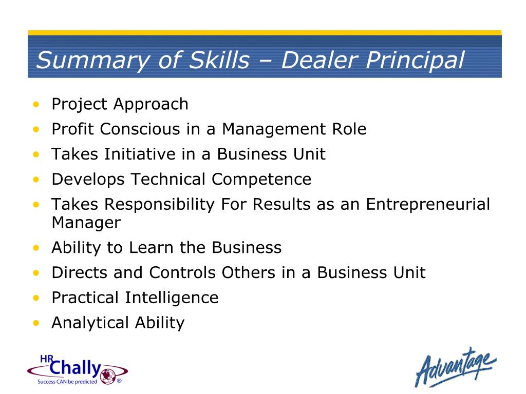 Summary of Skills – Dealer Principal